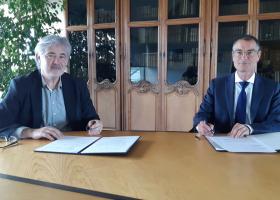 Christian Guellerin, directeur général de L'École de design Nantes Atlantique et Christophe Germain, directeur général d'Audencia